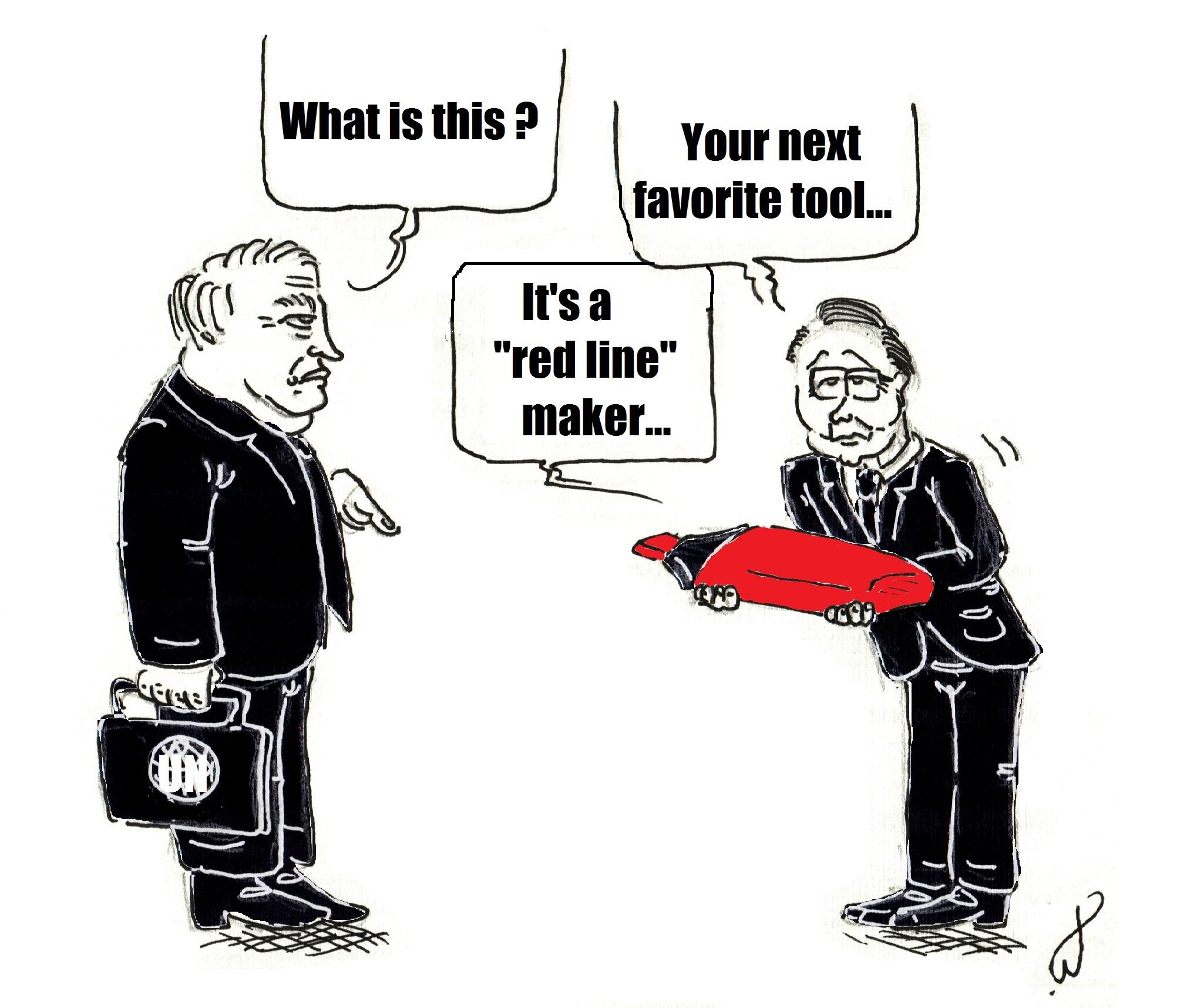 """« - Qu'est-ce que c'est ? - Votre prochain outil préféré... c'est un traceur de """"ligne rouge""""...». Crédit Louis Bertrand."""