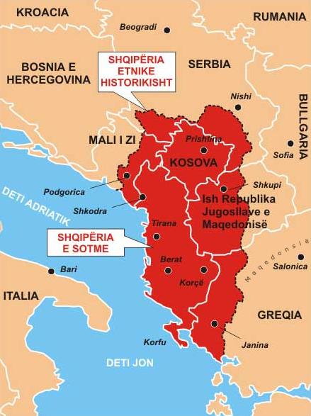 Le territoire albanais s'étendait sur le Monténégro, la Serbie, le Kosovo, la Macédoine et la Grèce. Licence CC-BY-SA-3.