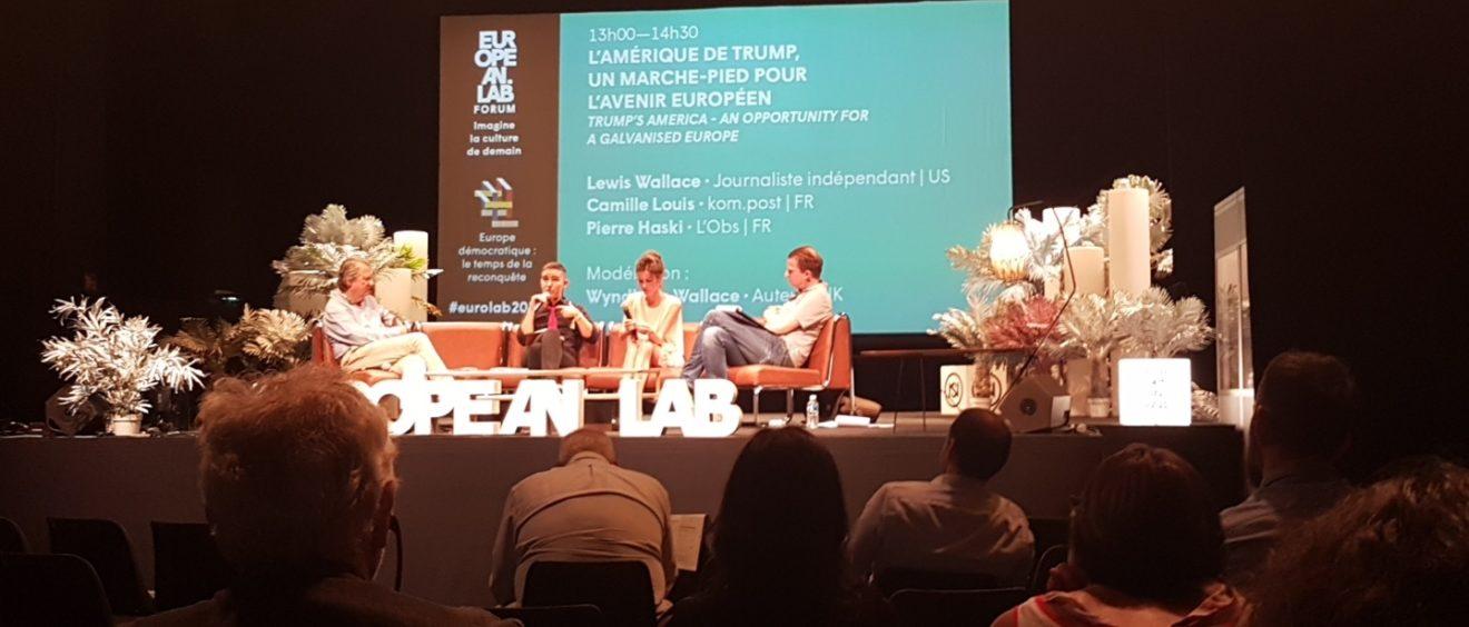 Pierre Haski, Lewis Wallace, Camille Louis et Wyndham Wallace, lors de leur conférence à l'European Lab à Lyon, France, le 25 mai 2017. Crédit : Alexandra Sabadello