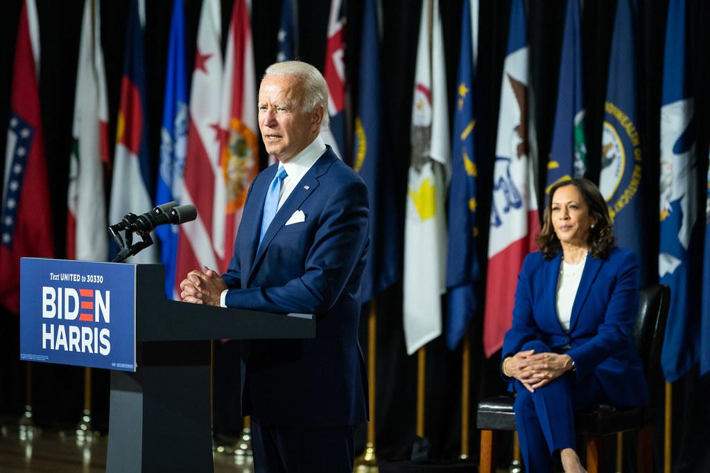 Joe Biden encourage les électeurs à voter pour le duo Biden/ Harris - Moment de l'annonce de la candidature à la vice-présidence de la sénatrice Kamala Harris, par Joe Biden, à Wilmington, dans le Delaware - 12 août 2020